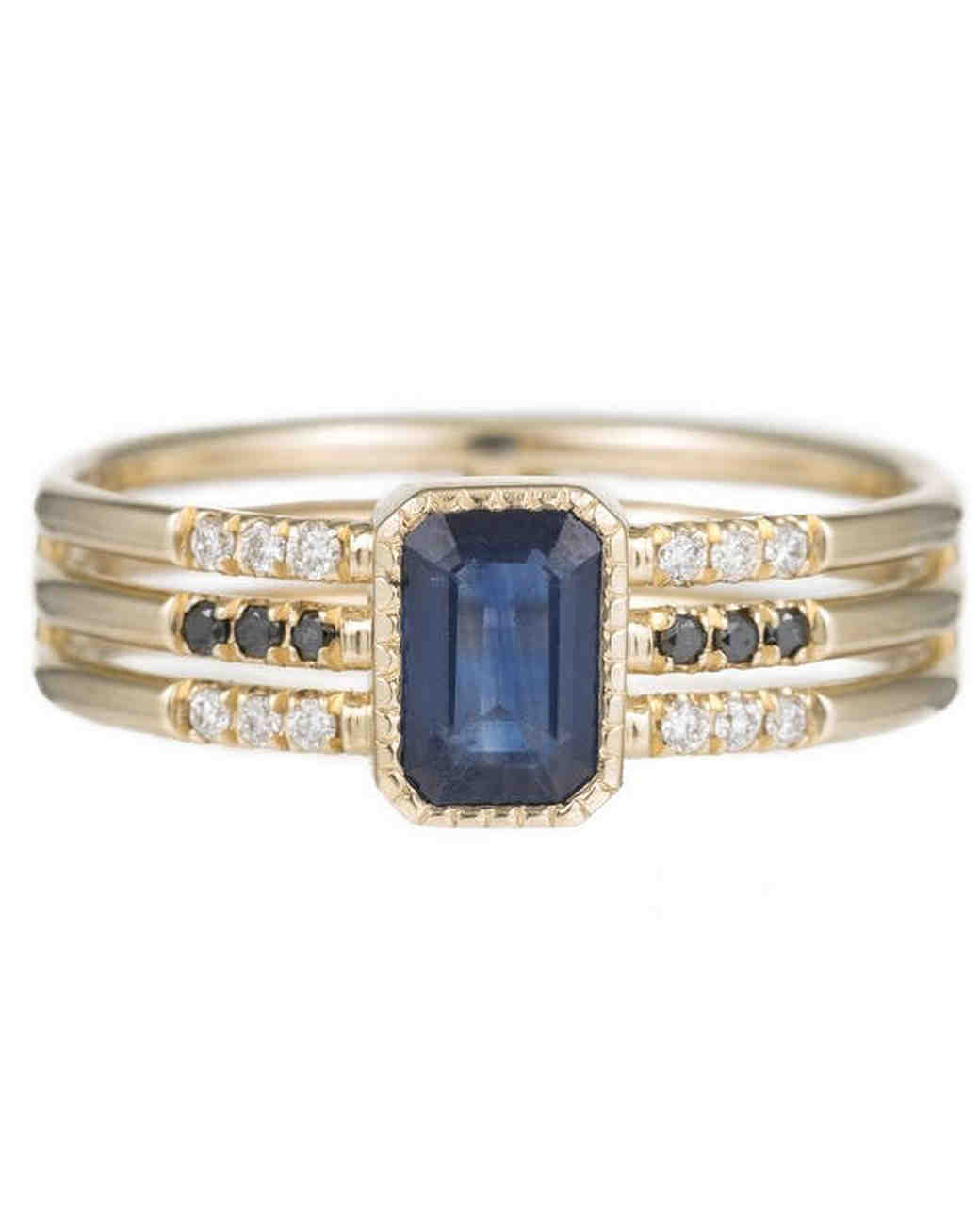 Jennie Kwon Designs Sapphire Emerald Cut Multi-Band Ring