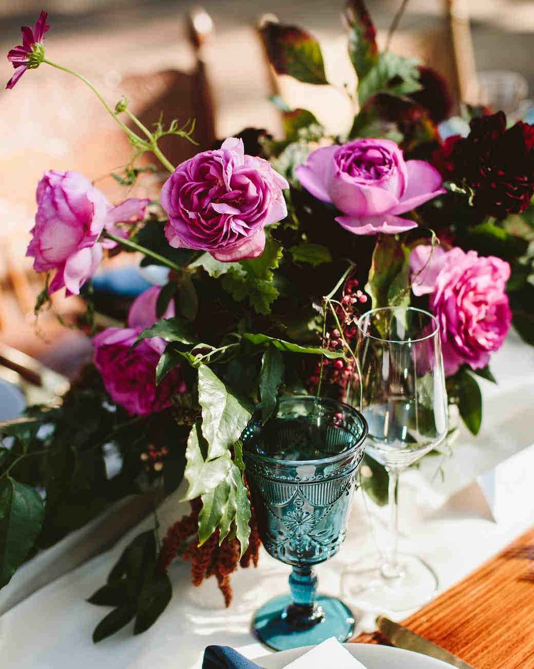 centerpiece with purple garden roses