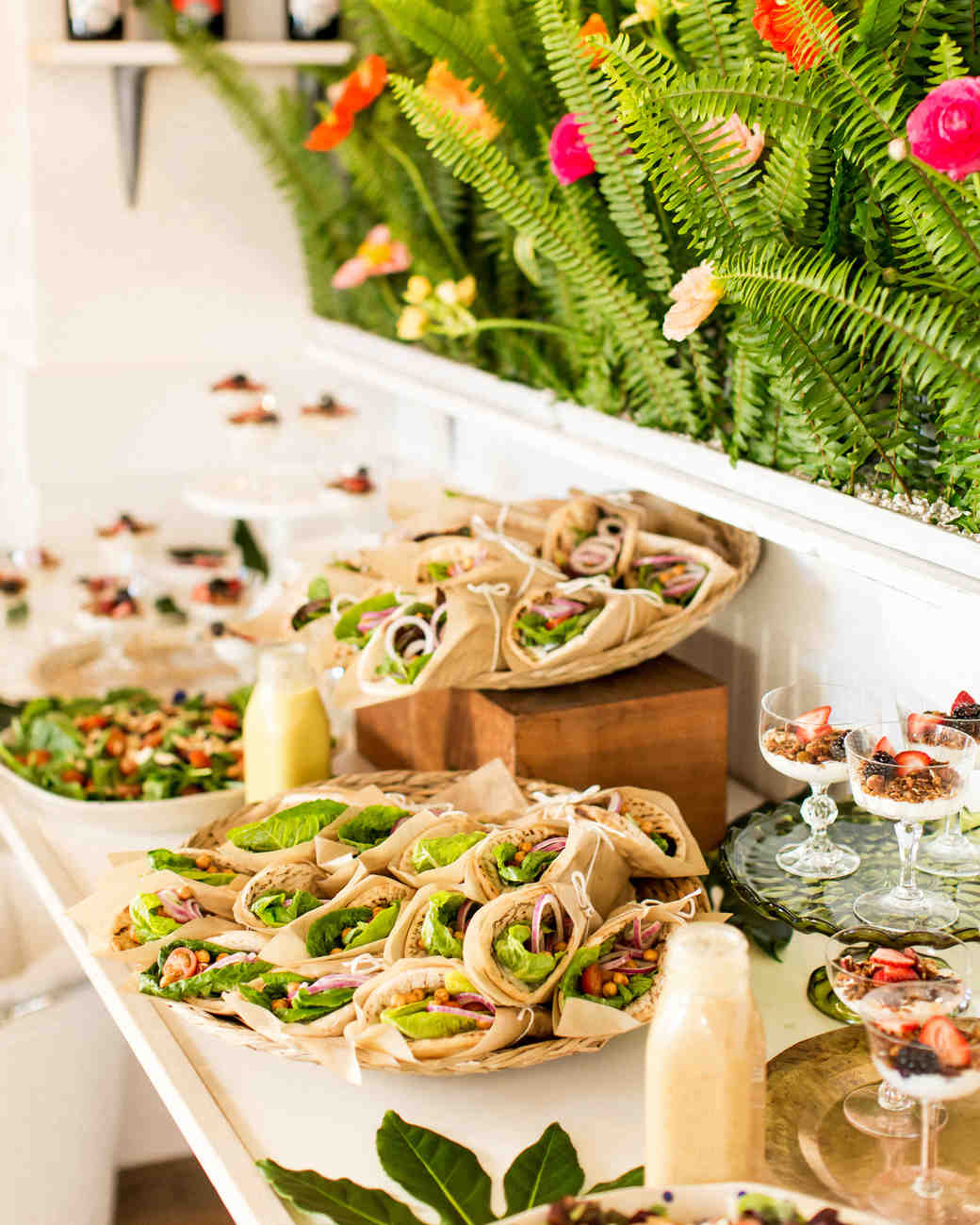 kara bridal shower wraps food buffet