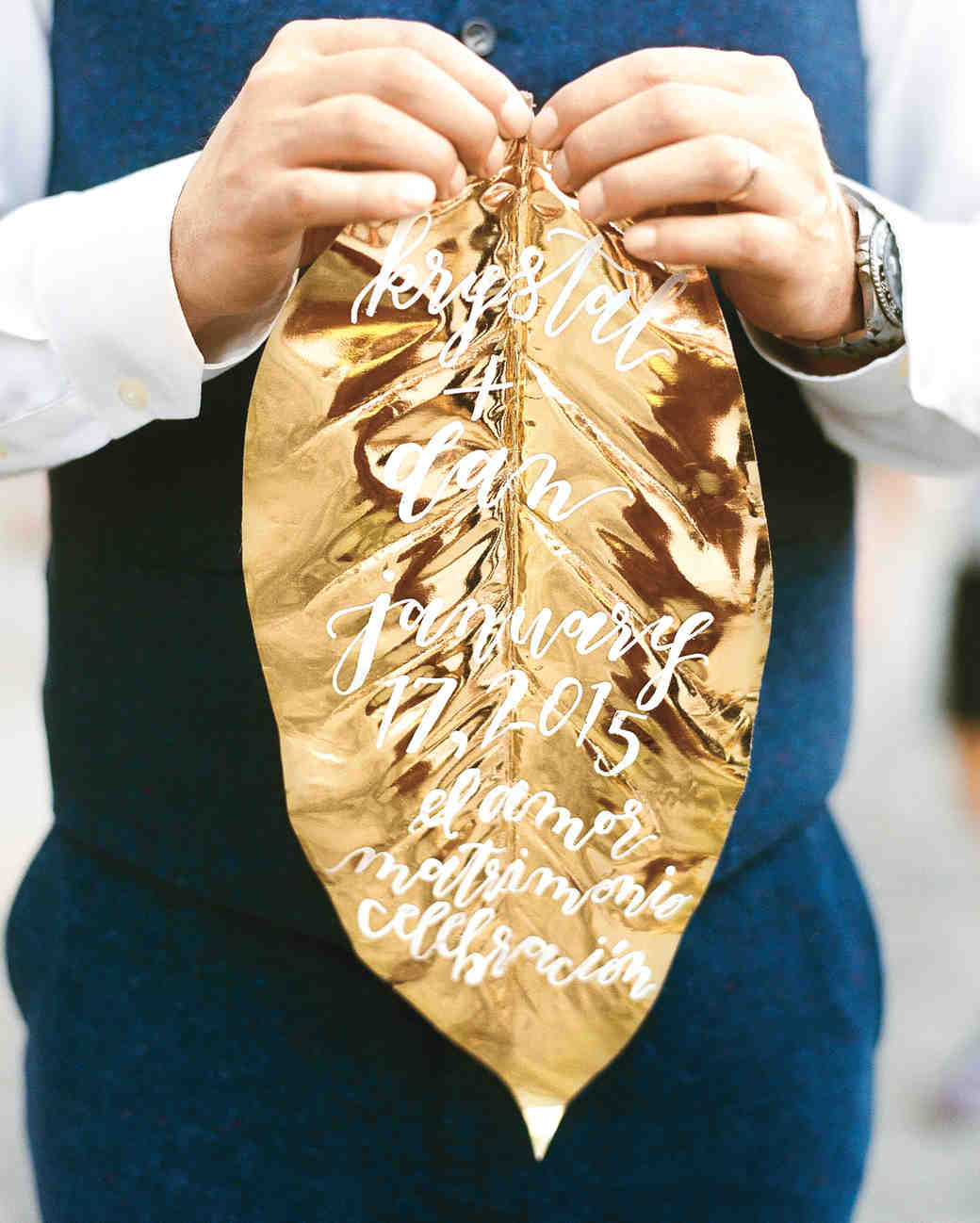 Gold Leaf with Calligraphy Wedding Details