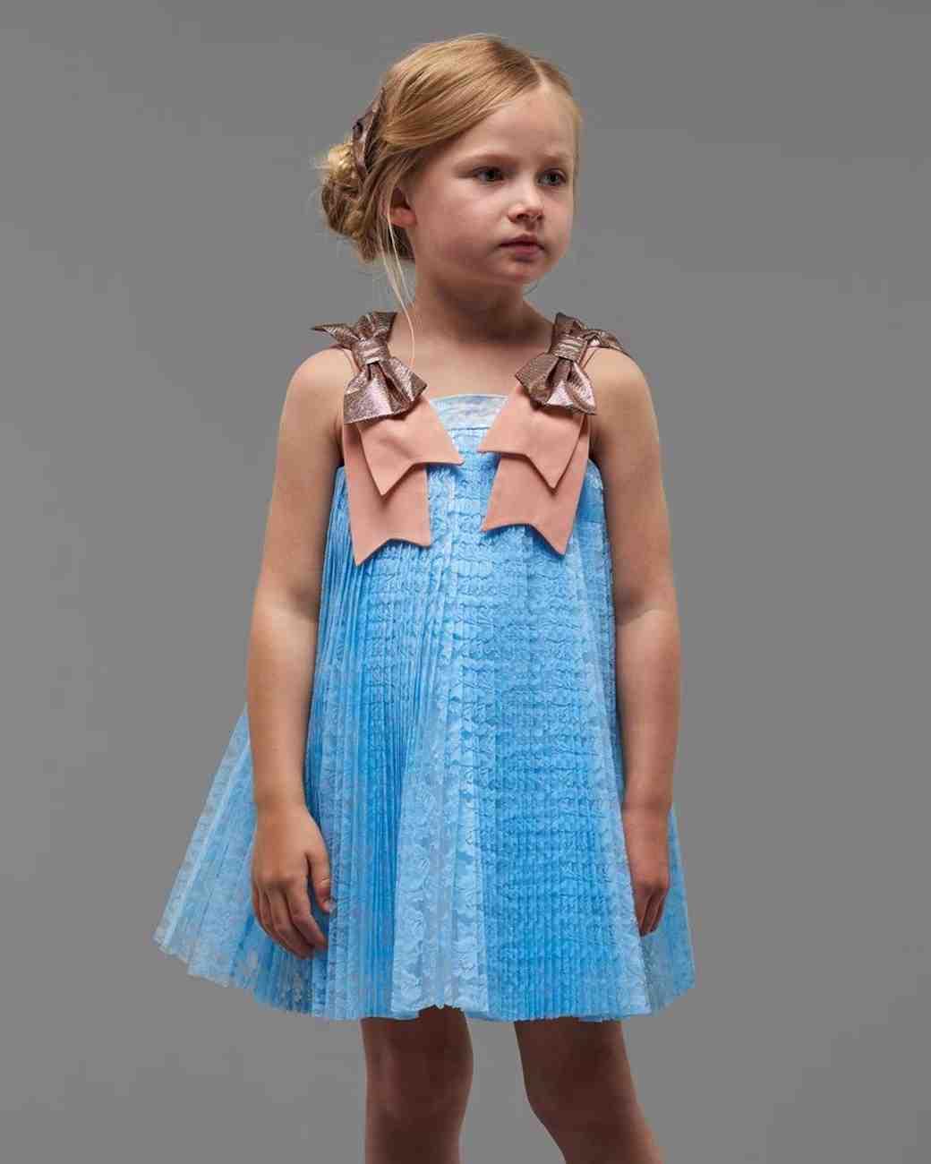 blue trapeze flower girl dress Hucklebones