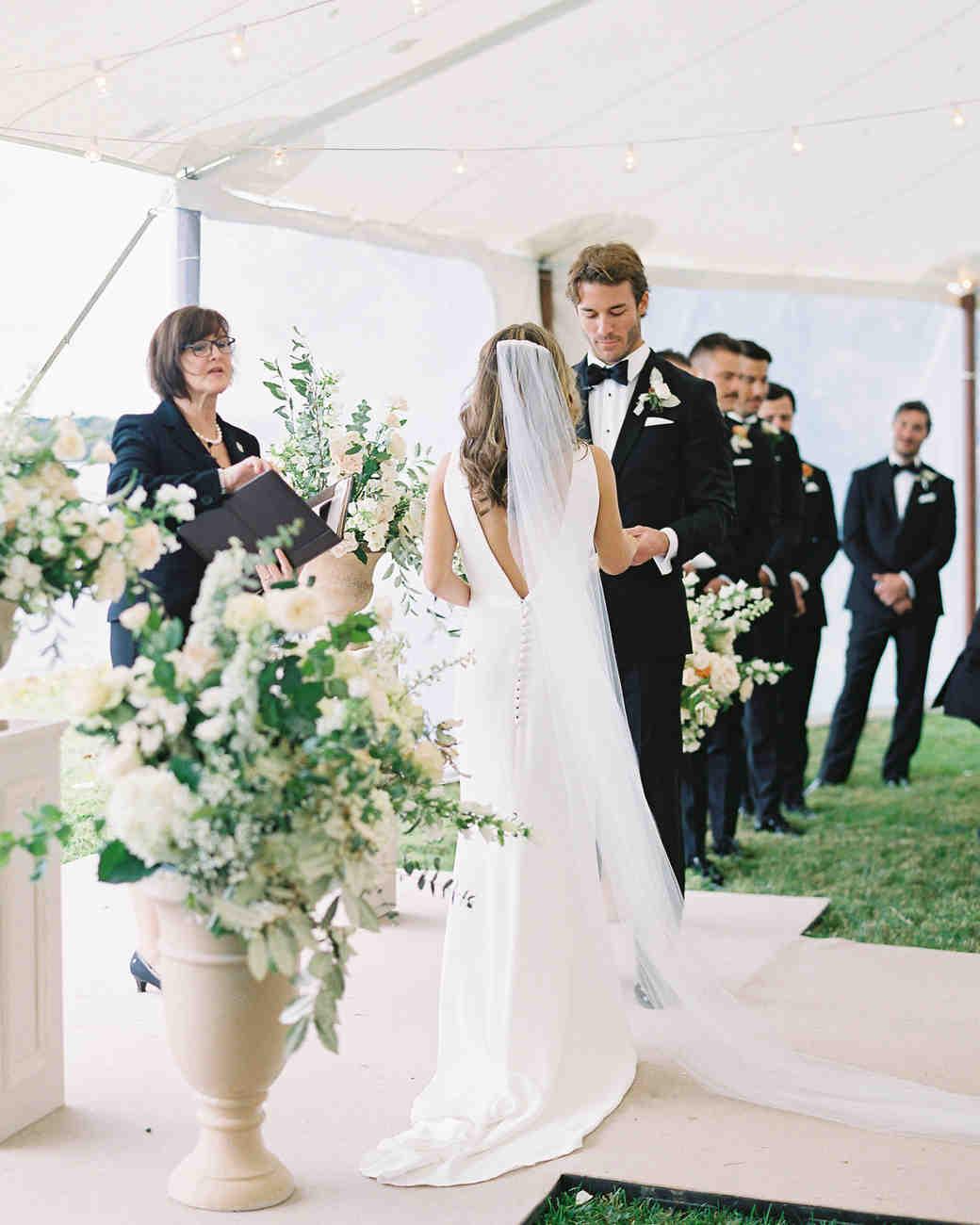lauren alex wedding ceremony bride and groom