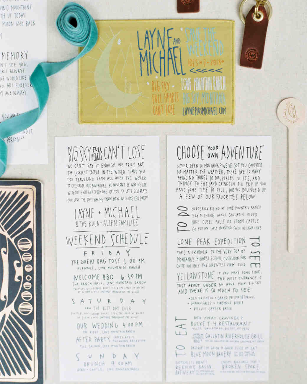 wedding stationary with custom-made patch
