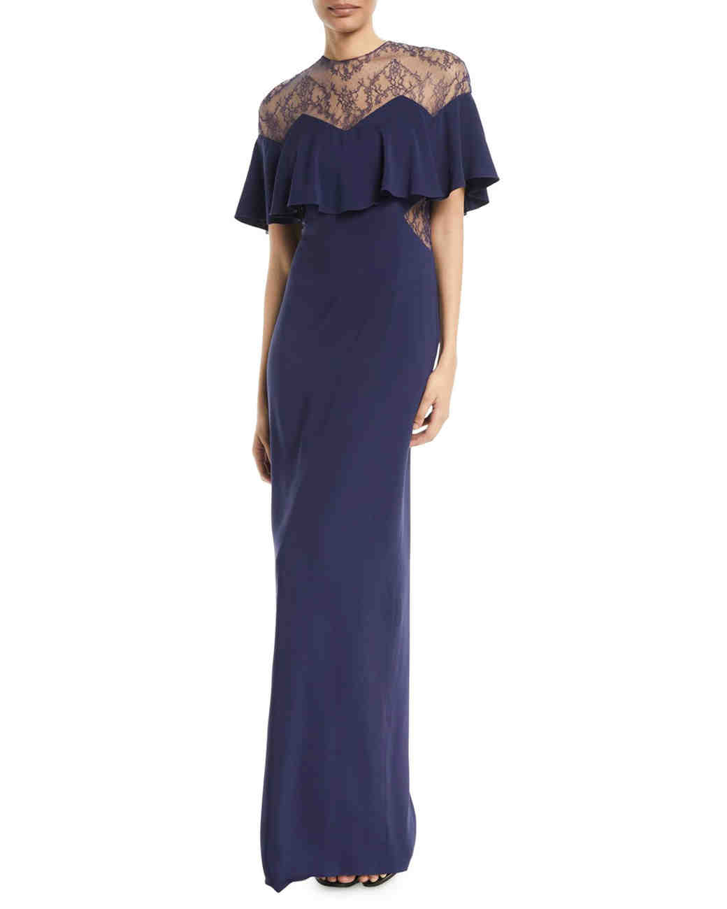 mother of the bride dress blue capelet sleeve gown