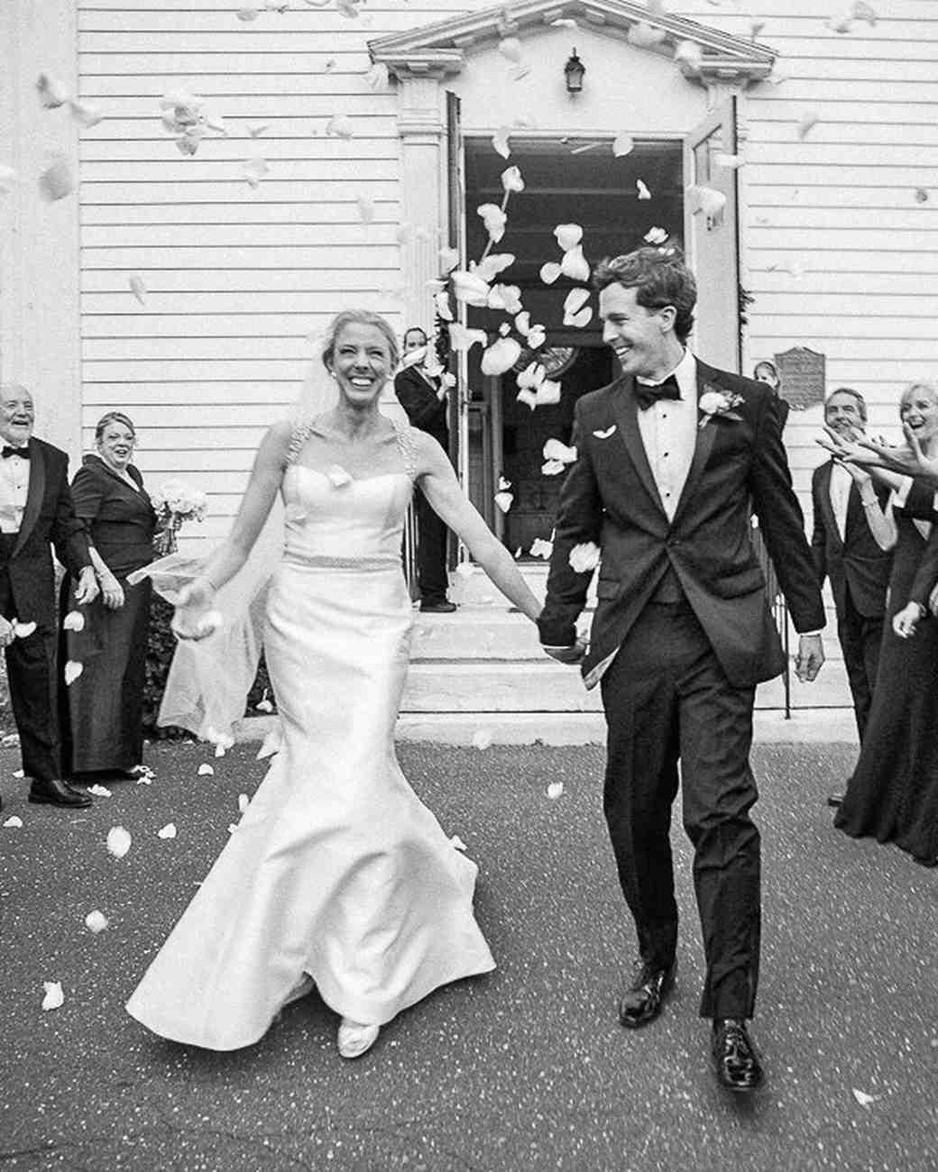 modern wedding guests throwing petals