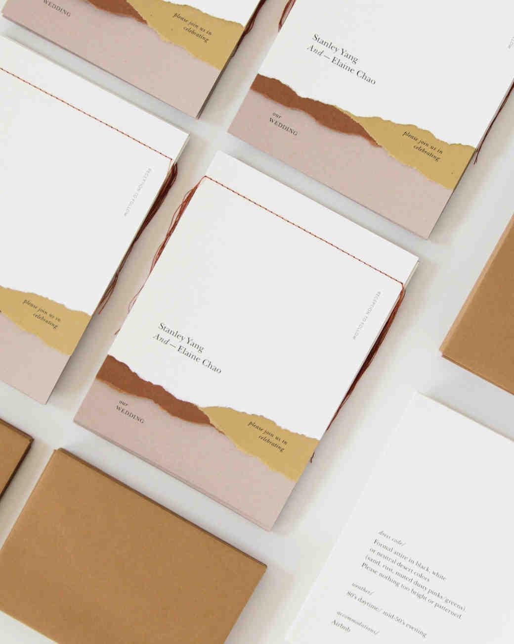 wedding invitation negative space layered booklets