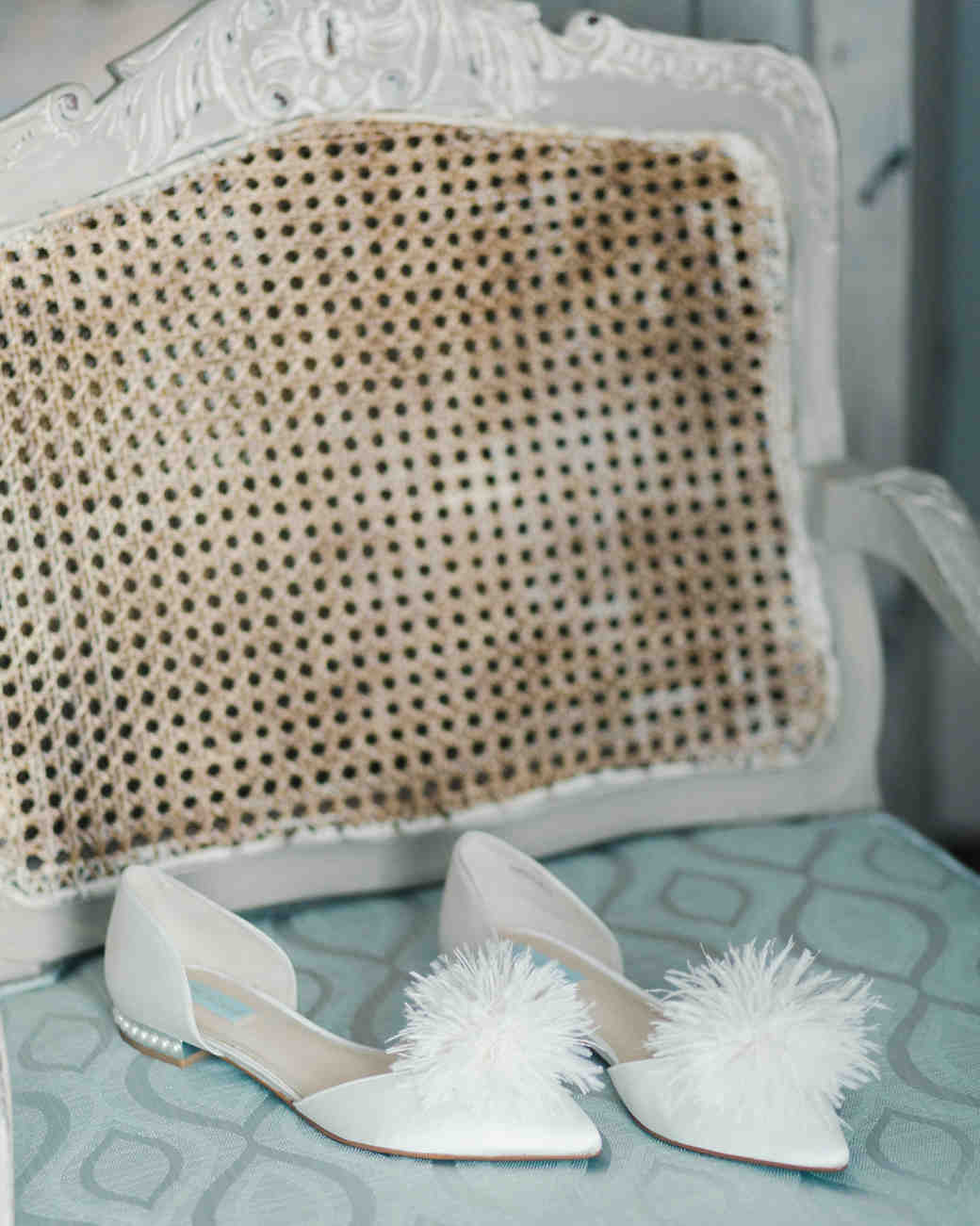 niara allen wedding shoes flat on chair