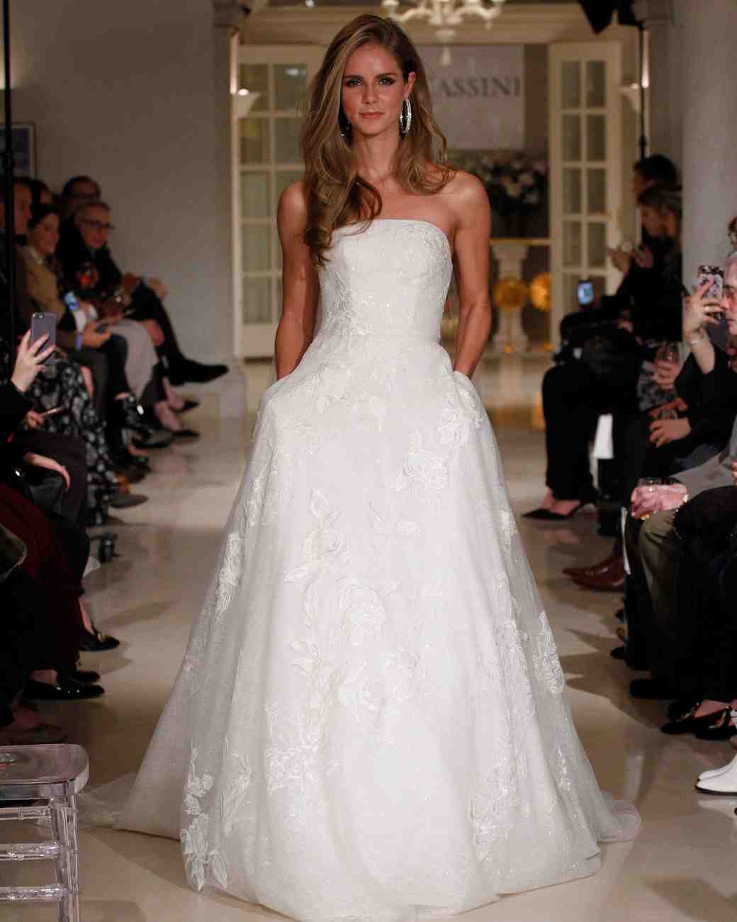 oleg cassini spring 2019 lace wedding dress strapless