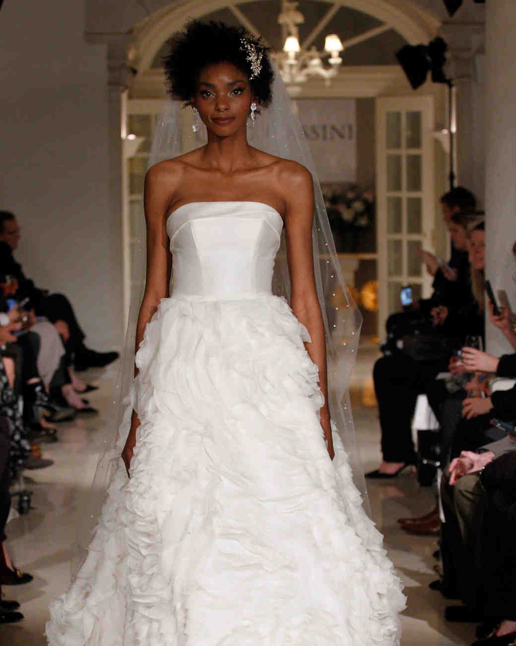 132e15a1ac9b Strapless lace ball gown with pockets and lace appliqués. oleg cassini  spring 2019 strapless wedding dress ruffle skirt