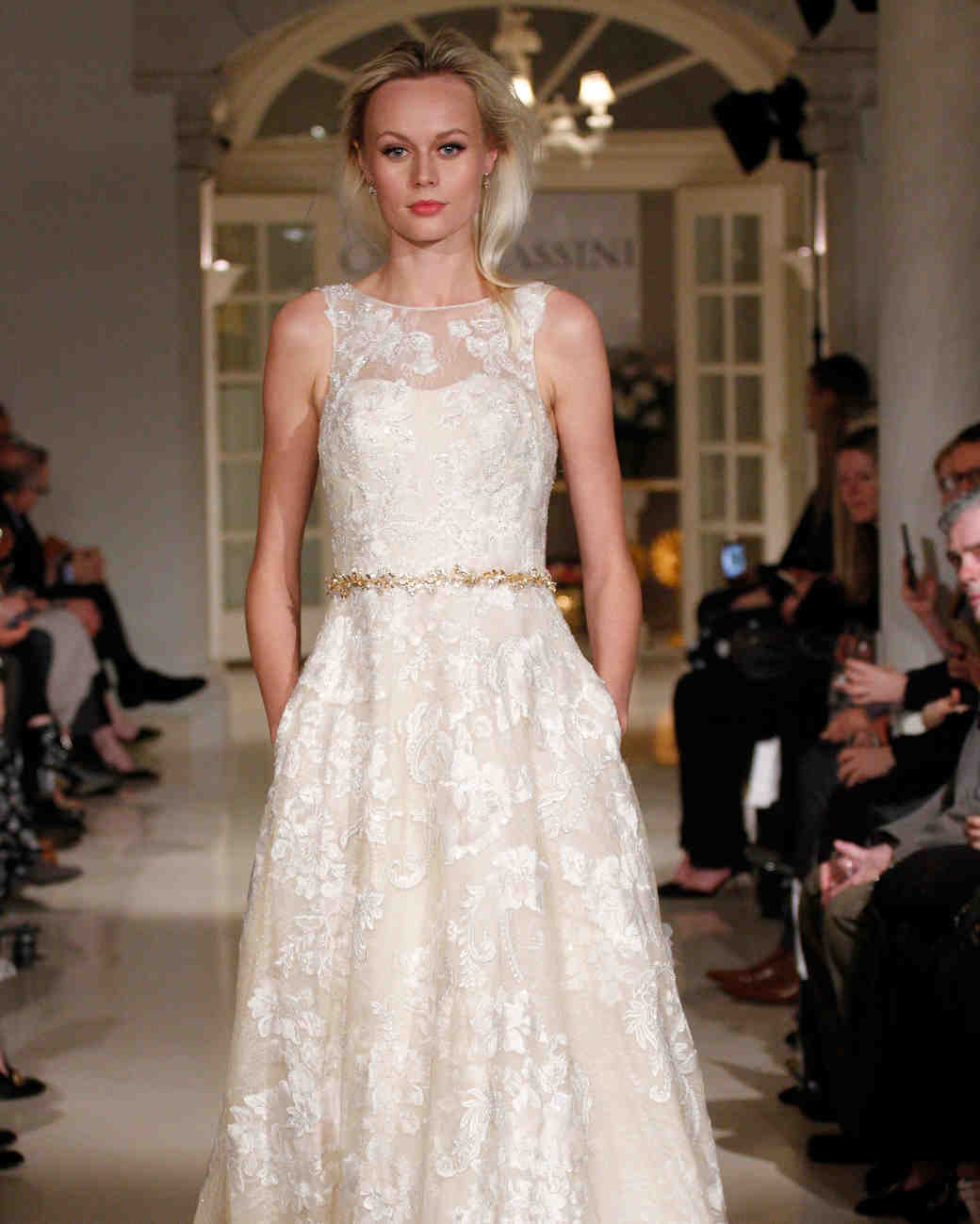 oleg cassini spring 2019 lace wedding dress gold belt