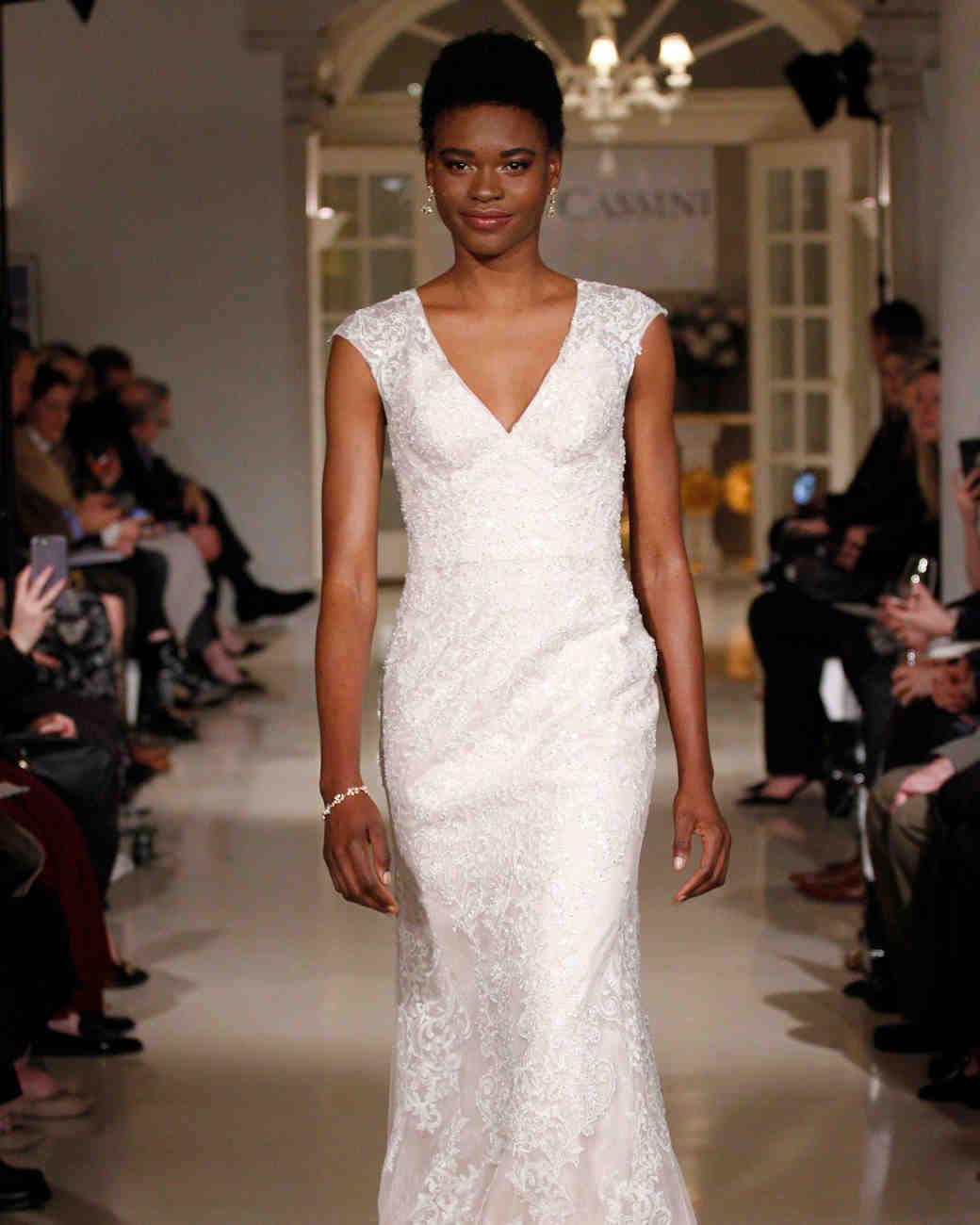 oleg cassini spring 2019 lace sheath wedding dress v-neckline