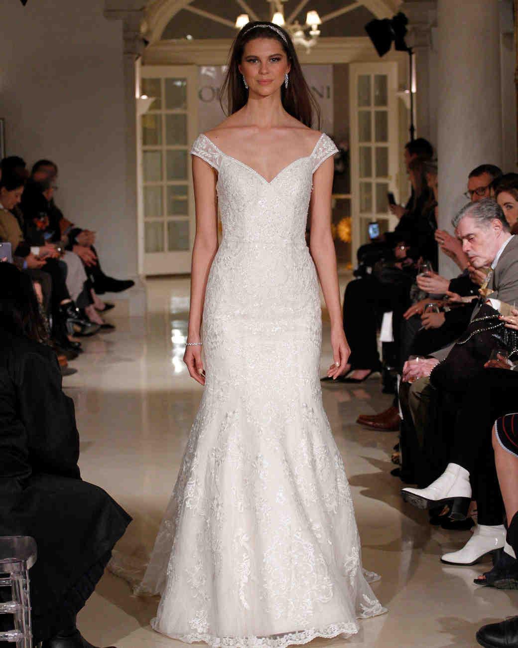 oleg cassini spring 2019 lace trumpet wedding dress off-the-shoulder neckline