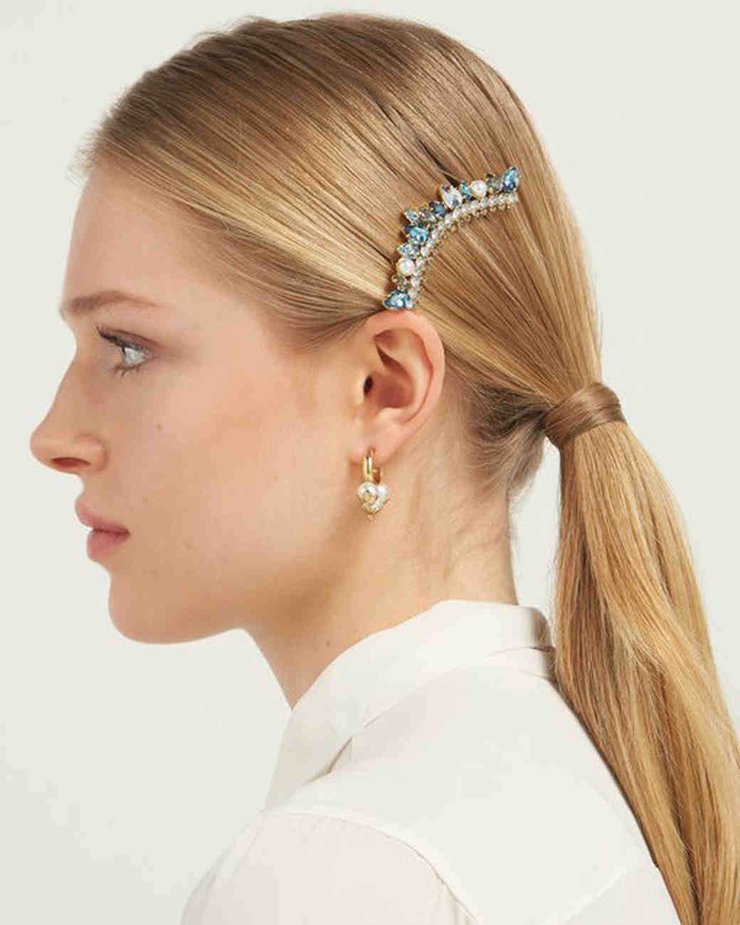 Crystal and Faux Pearl Embellished Hair Clip