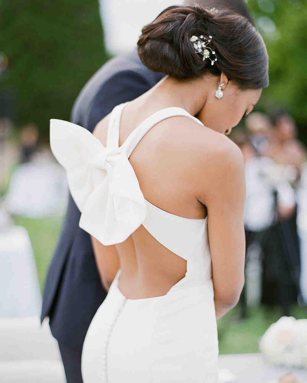 wedding reception dresses bow in back