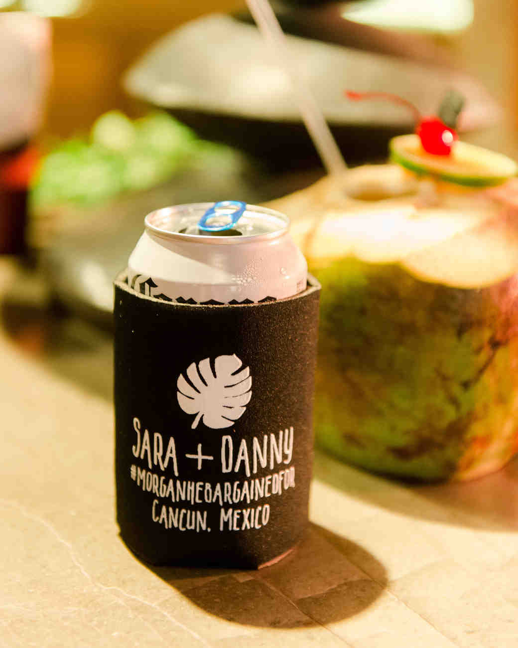 sara danny mexico wedding koozie