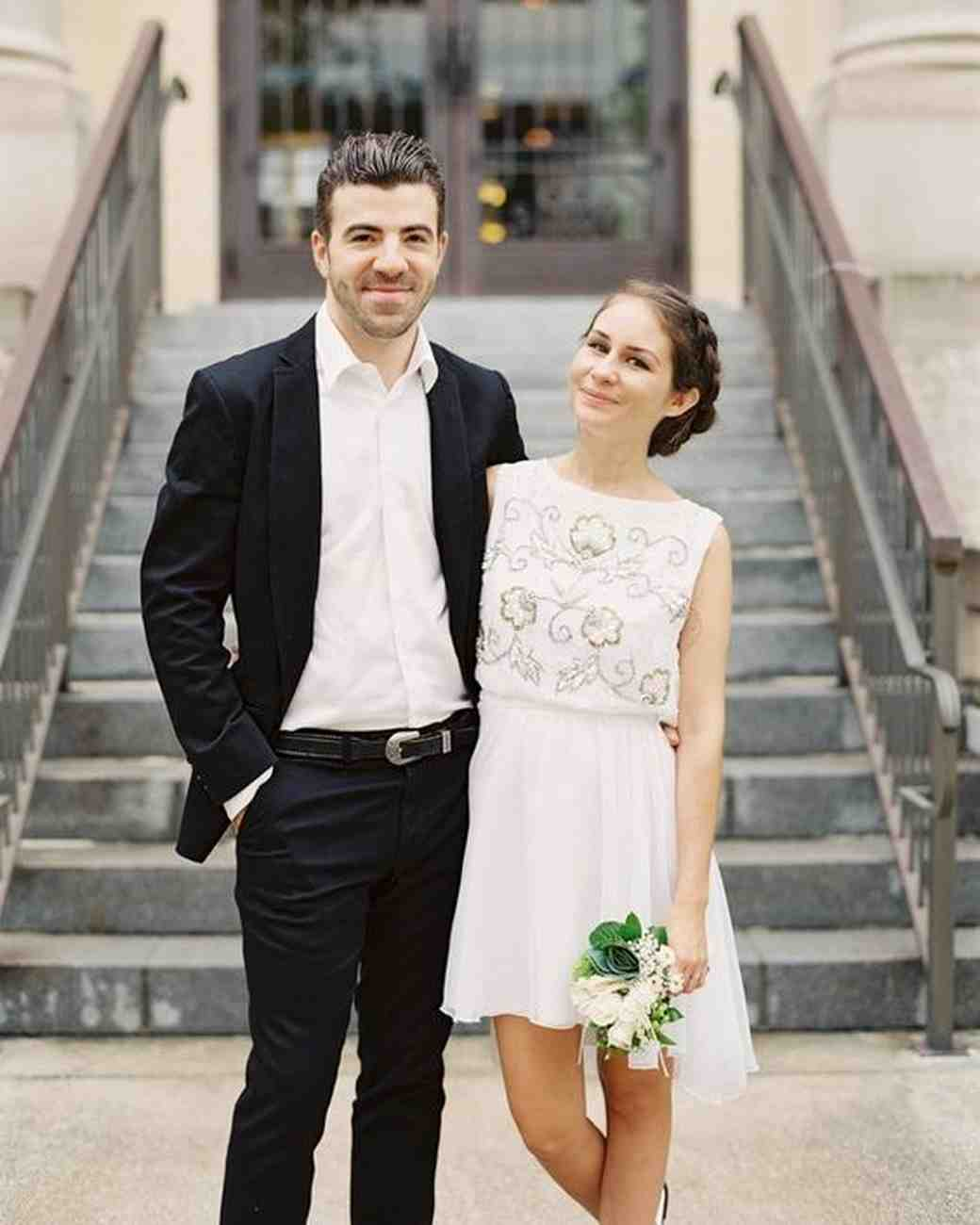 How Real Brides Wore Short Wedding Dresses Martha Stewart Weddings