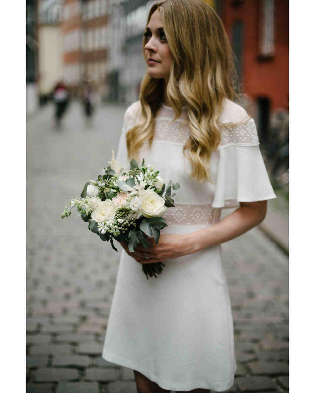 short wedding dress high neck short sleeve