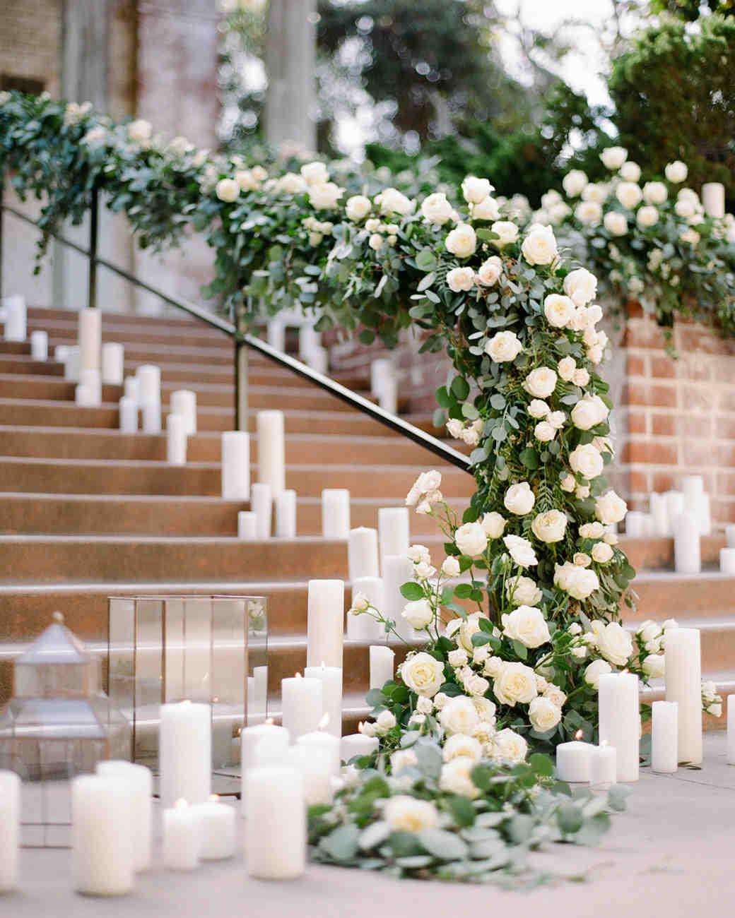 stair banister decor pillar candles