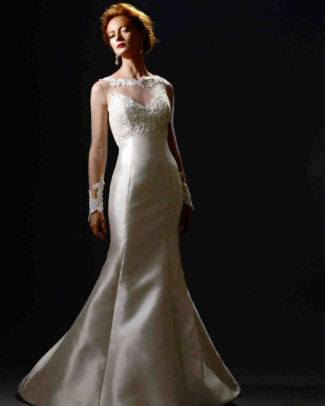 steven birnbaum fall 2019 illusion high neckline trumpet wedding dress