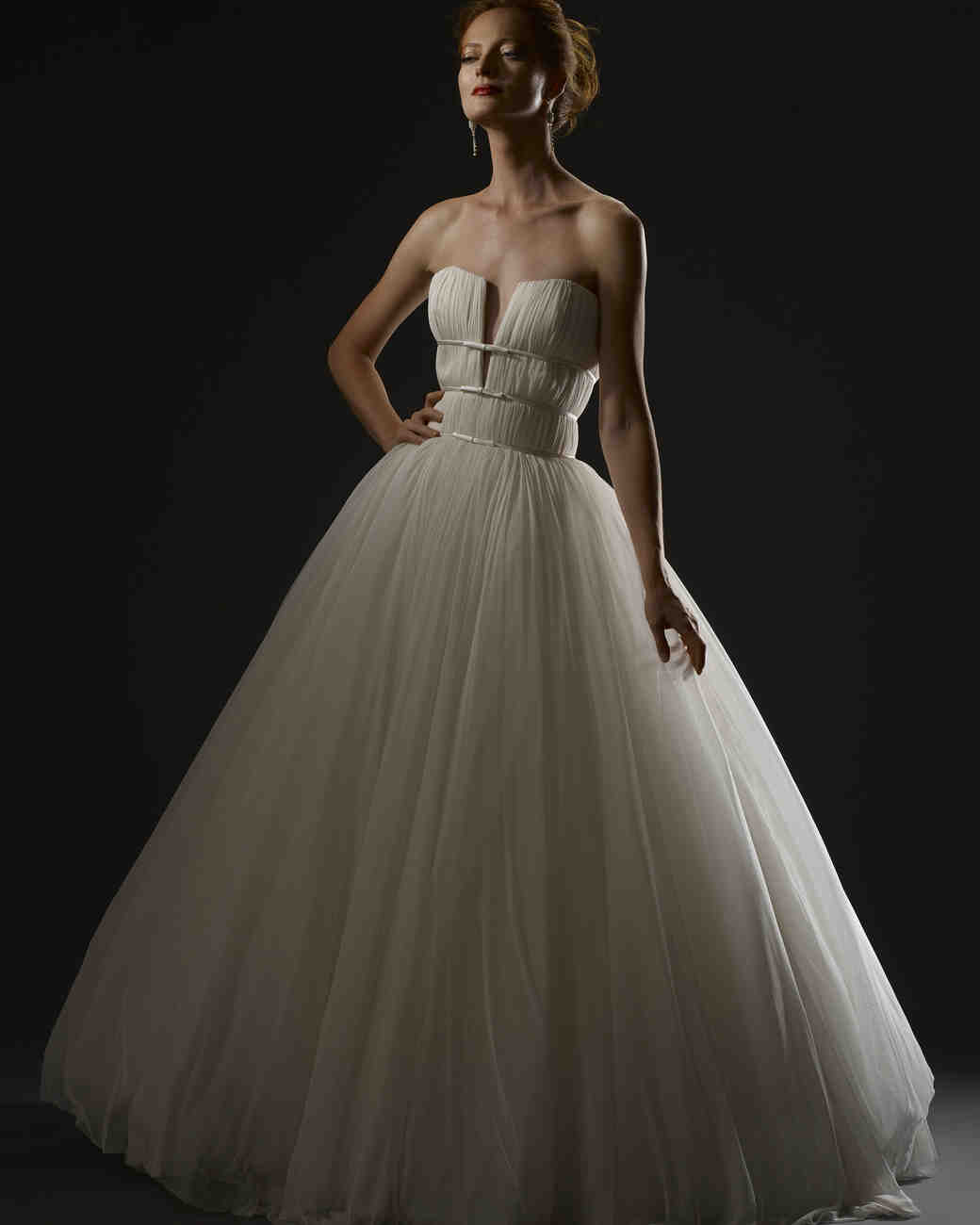 steven birnbaum fall 2019 wedding dress ball gown with plunging neckline