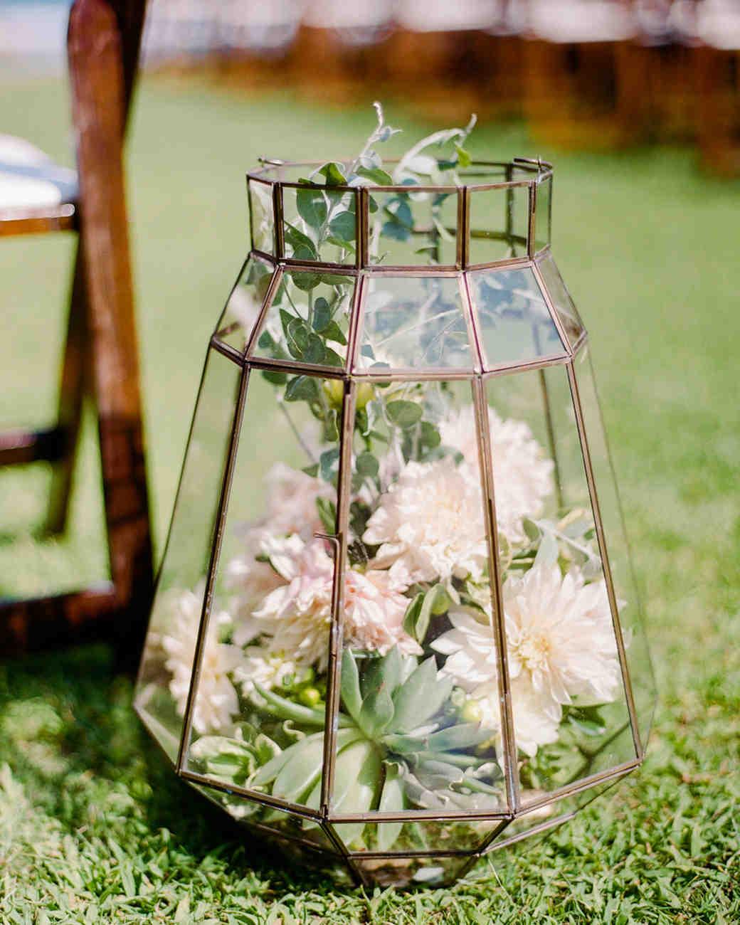 terrarium wedding ideas aisle decor