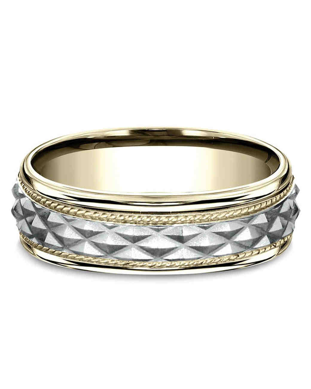 two tone textured wedding band