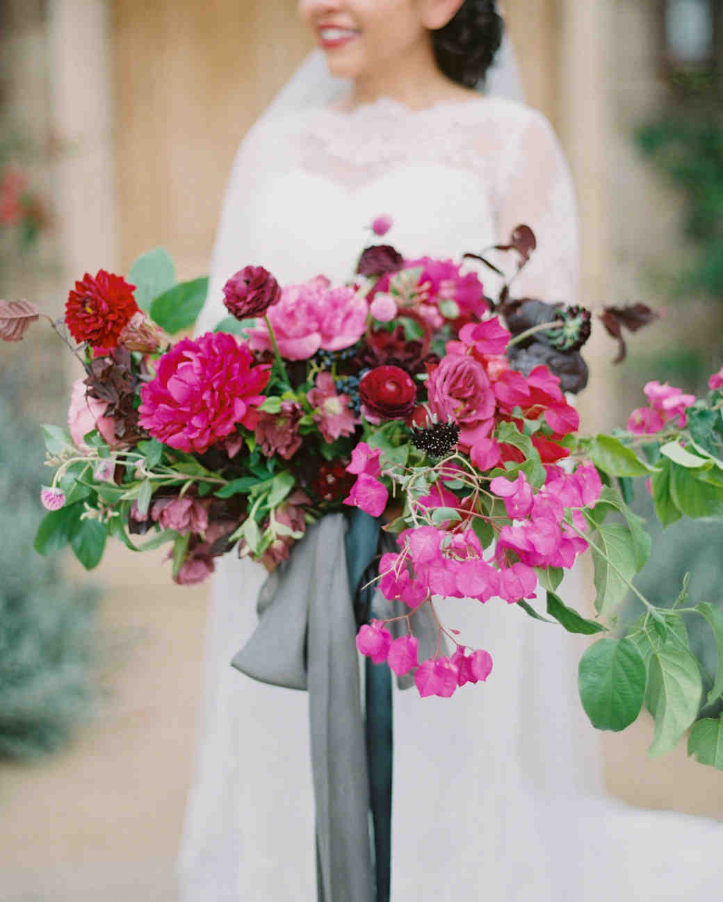pink gray wedding bouquet