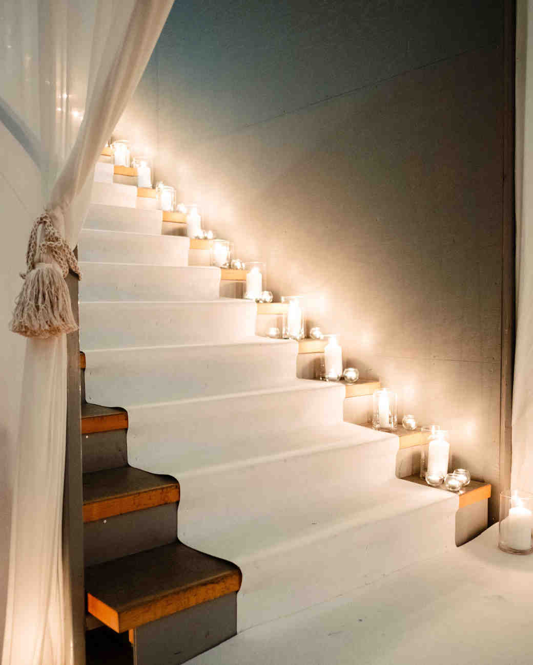 winter weddings candle stairs