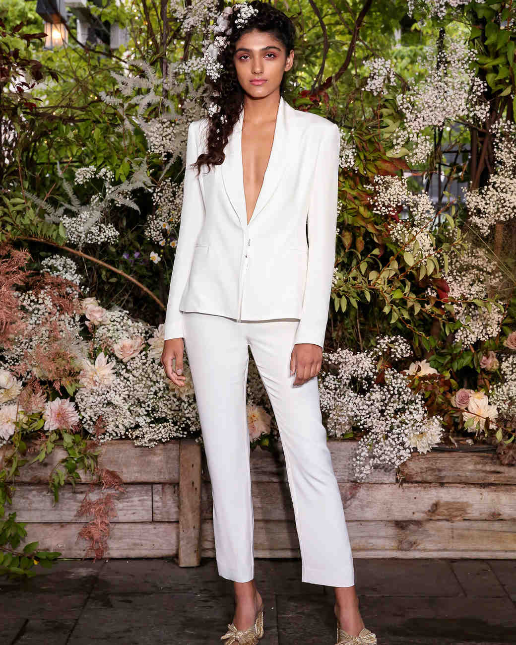 a92a6b07fa8 alexandra grecco wedding cropped pantsuit plunging neck