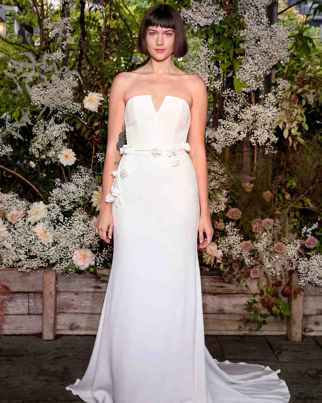 alexandra grecco wedding dress notched neckline with floral belt