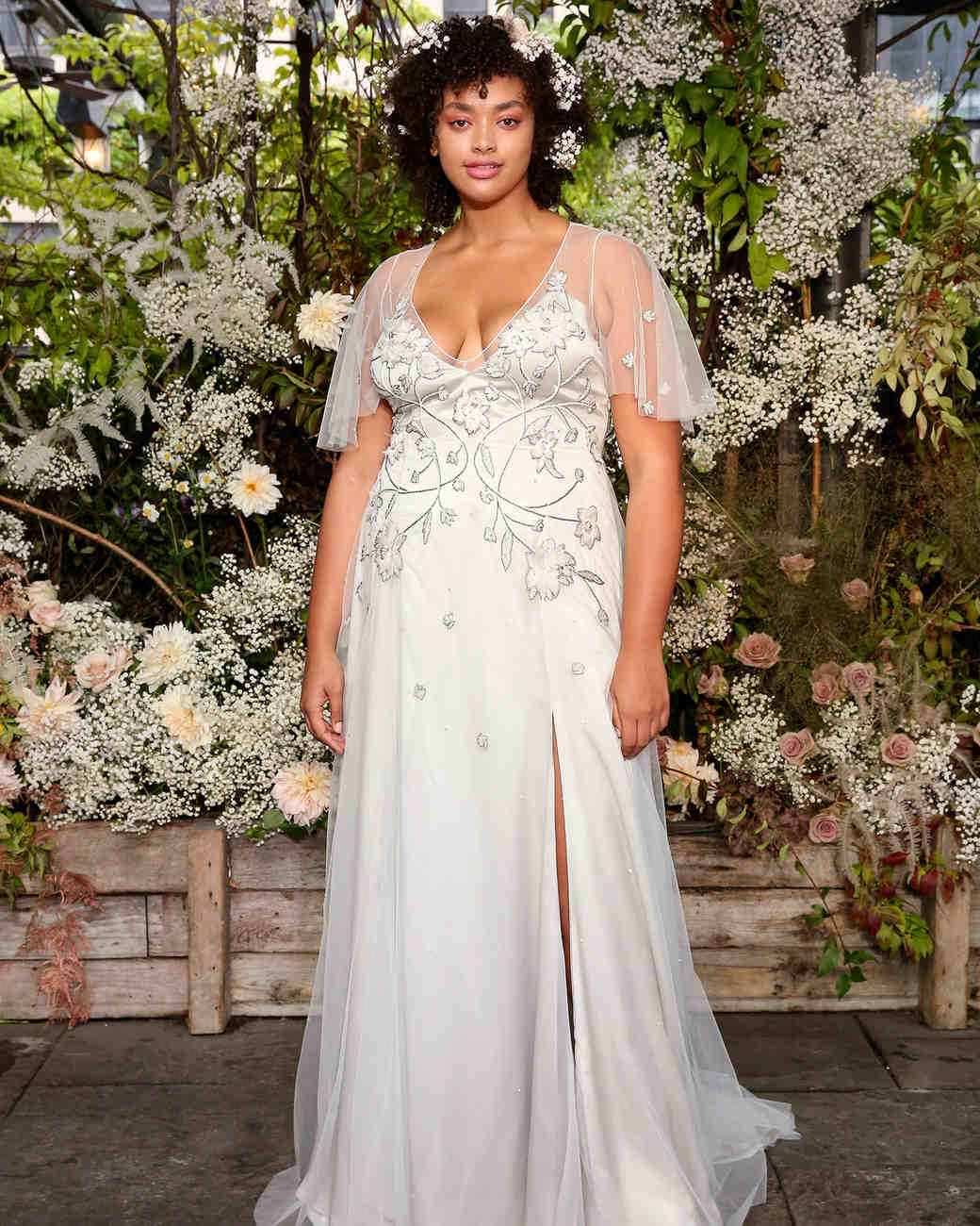 alexandra grecco wedding dress embroidered sheer flutter sleeves
