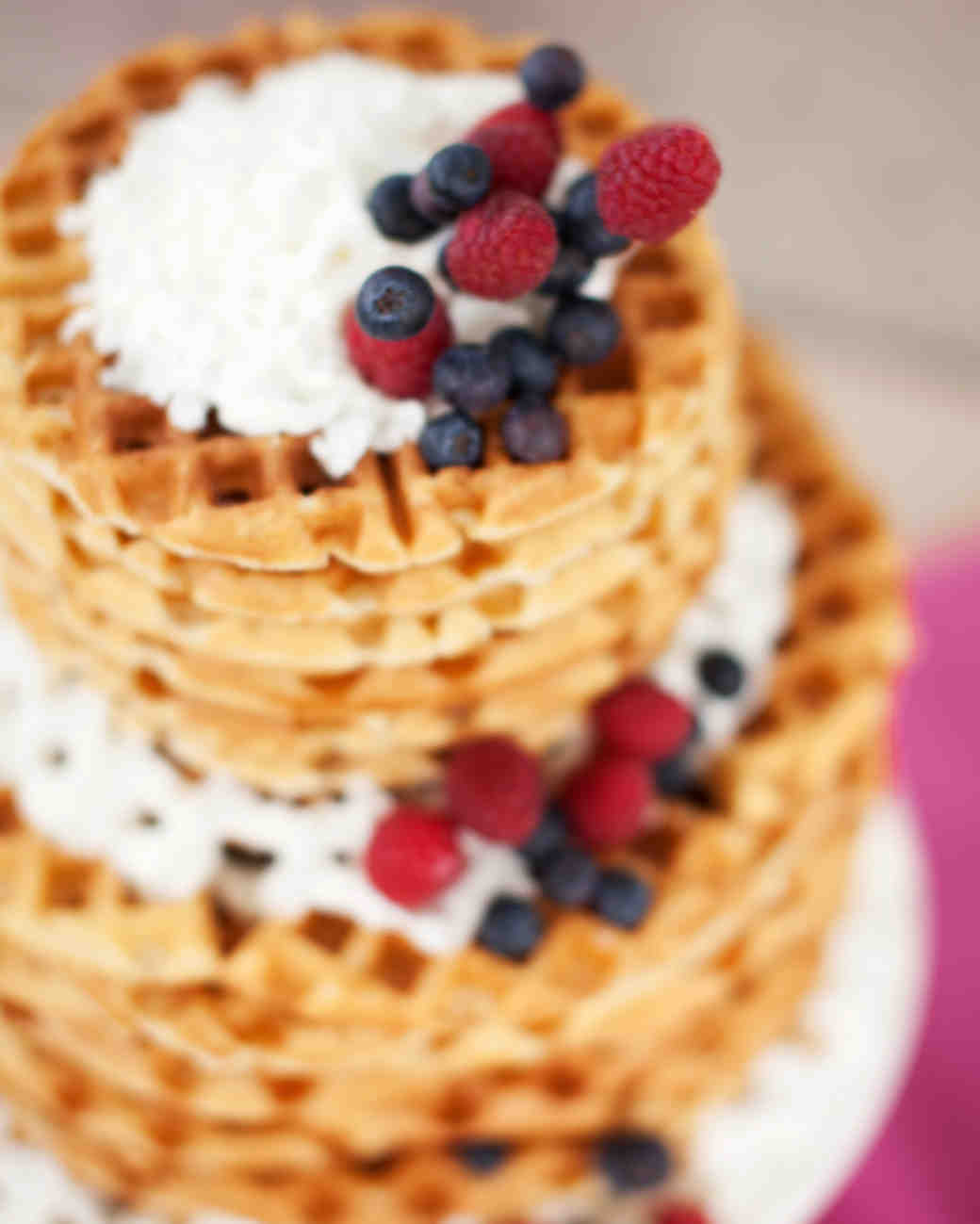 waffles stack tiers berries cream