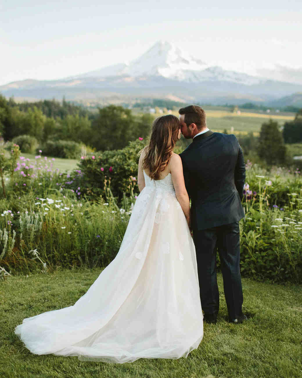 Wedding couple mountain background