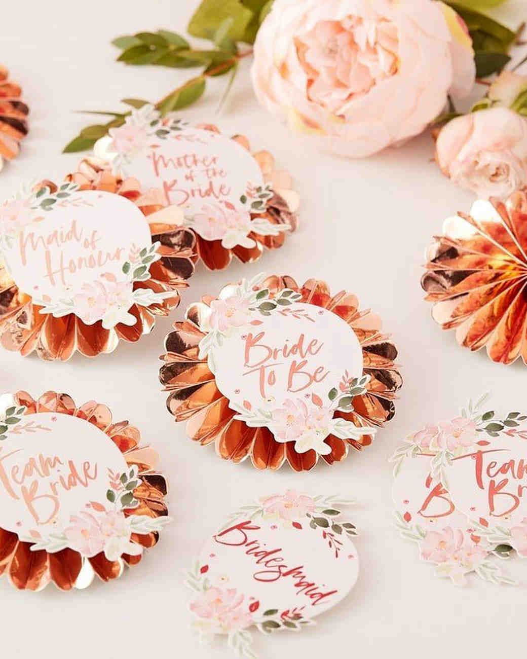 bachelorette party supplies rose gold pins