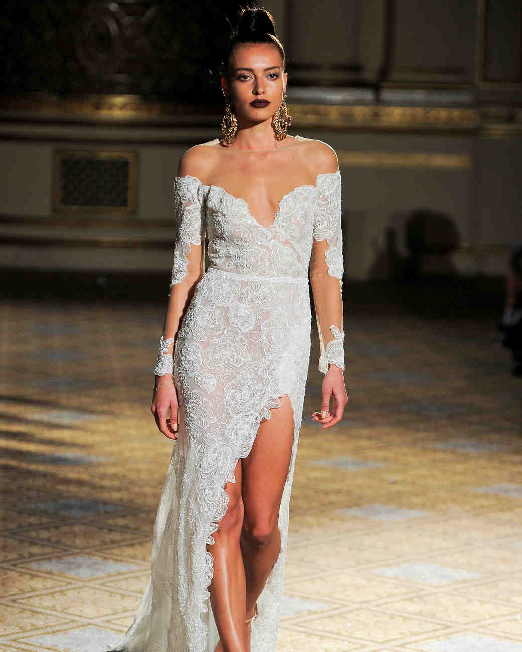 berta off the shoulder lace wedding dress spring 2018