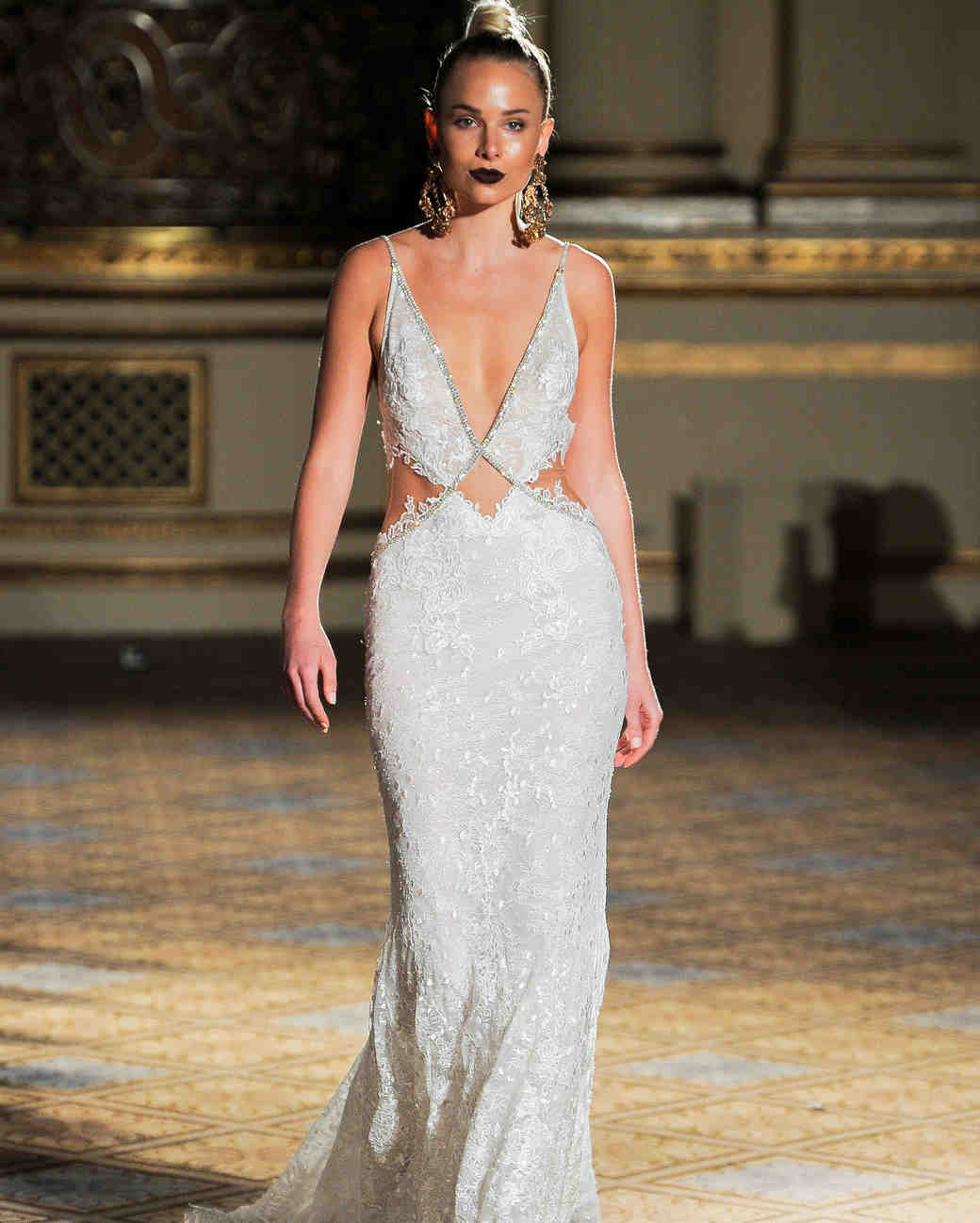 berta v-neck lace cut out wedding dress spring 2018