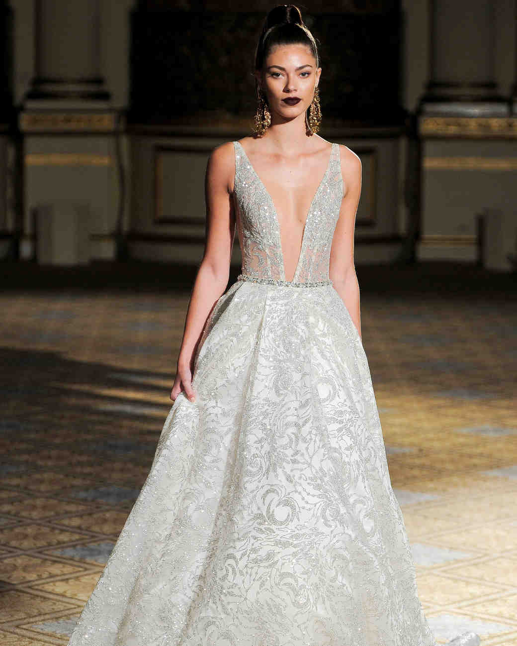 berta beaded sparkly a-line wedding dress spring 2018