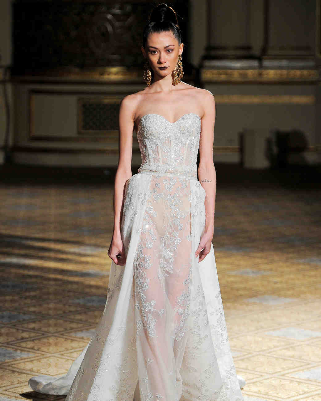 berta sweetheart sparkly sheer wedding dress spring 2018