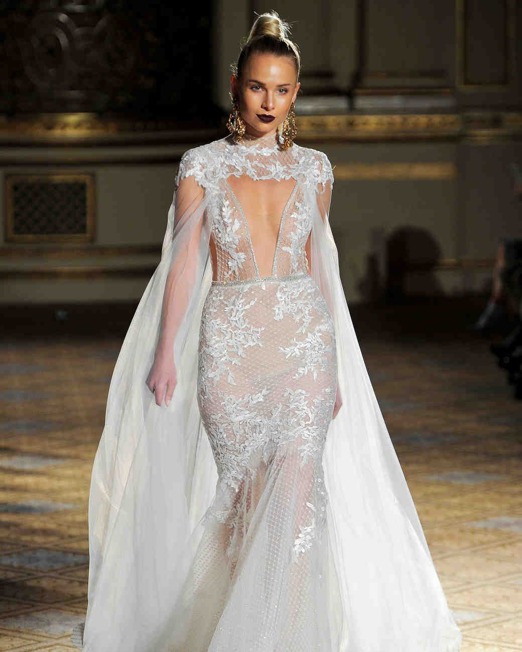 berta cut out sheer high neck cape wedding dress spring 2018