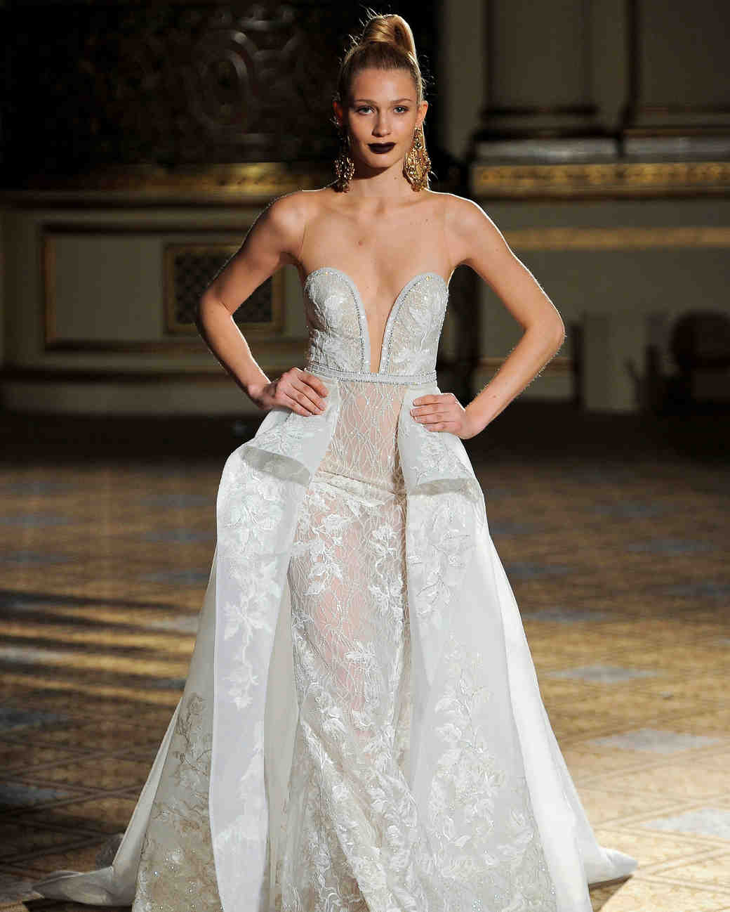 berta sheer a-line wedding dress spring 2018