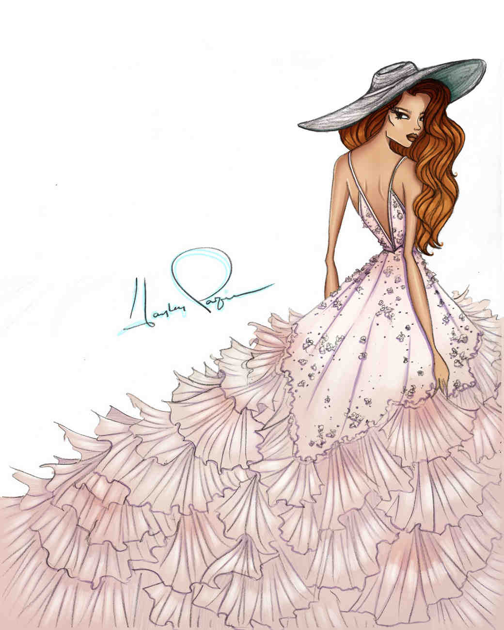 hayley paige spring 2020 wedding dress sketch