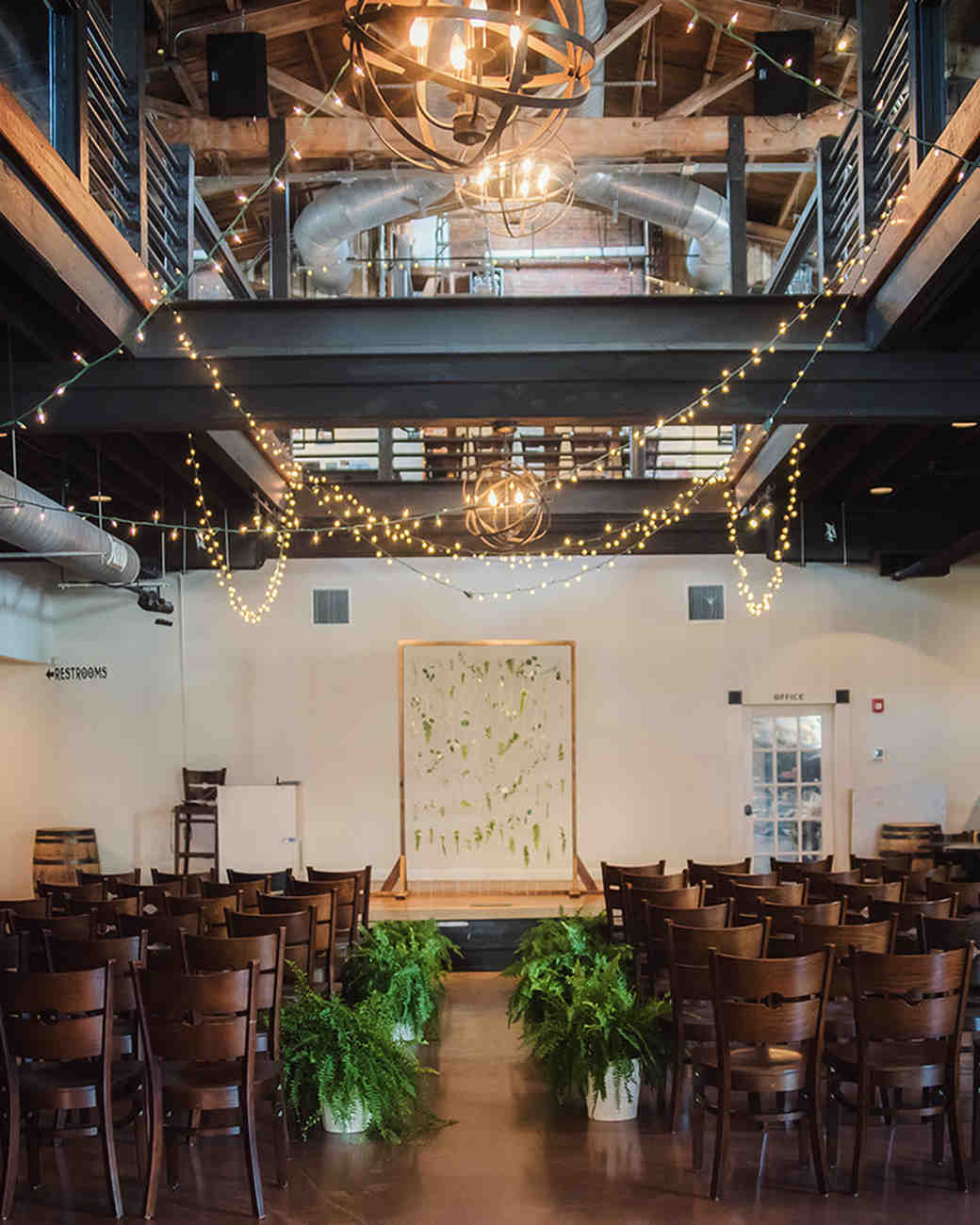 brewery wedding venues indoor rustic ceremony