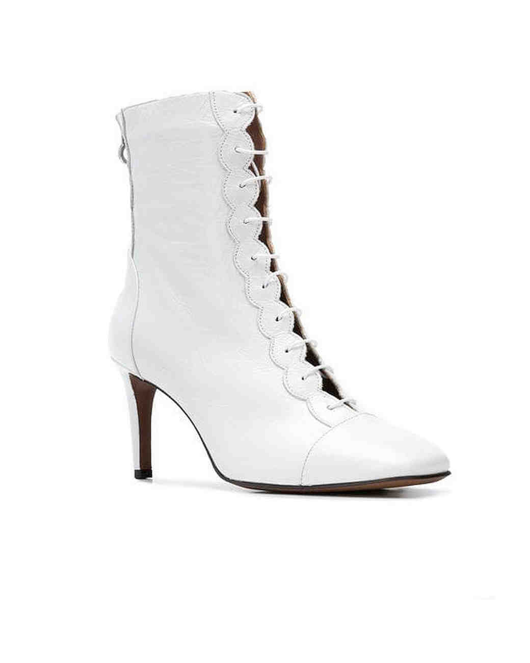 white bridal booties lautre chose front zip heel