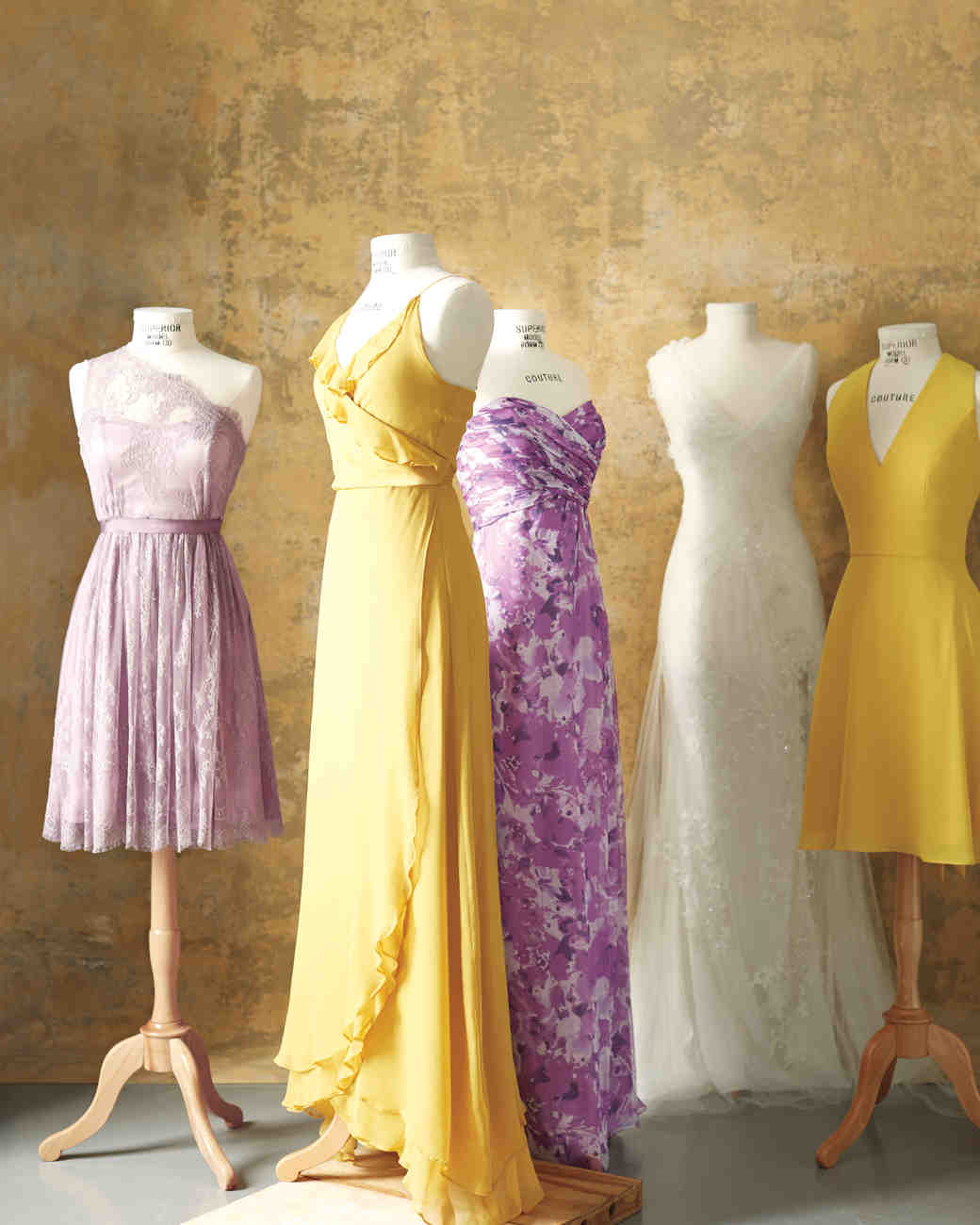 Butter yellow and lilac wedding dresses