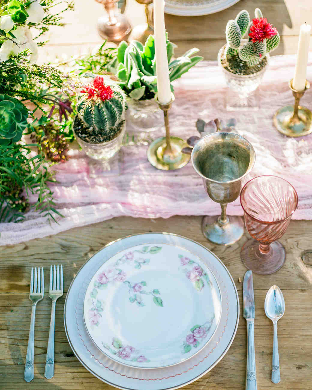 Rustic Tabletop with Mini Cactus Centerpieces