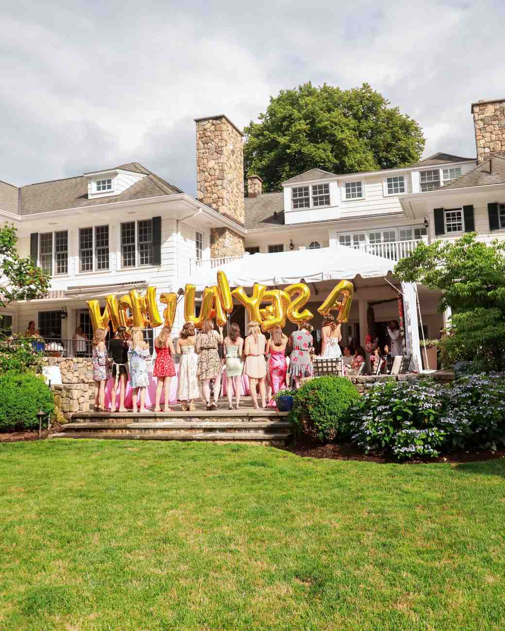 bridal shower lettered balloons bridesmaids outdoors