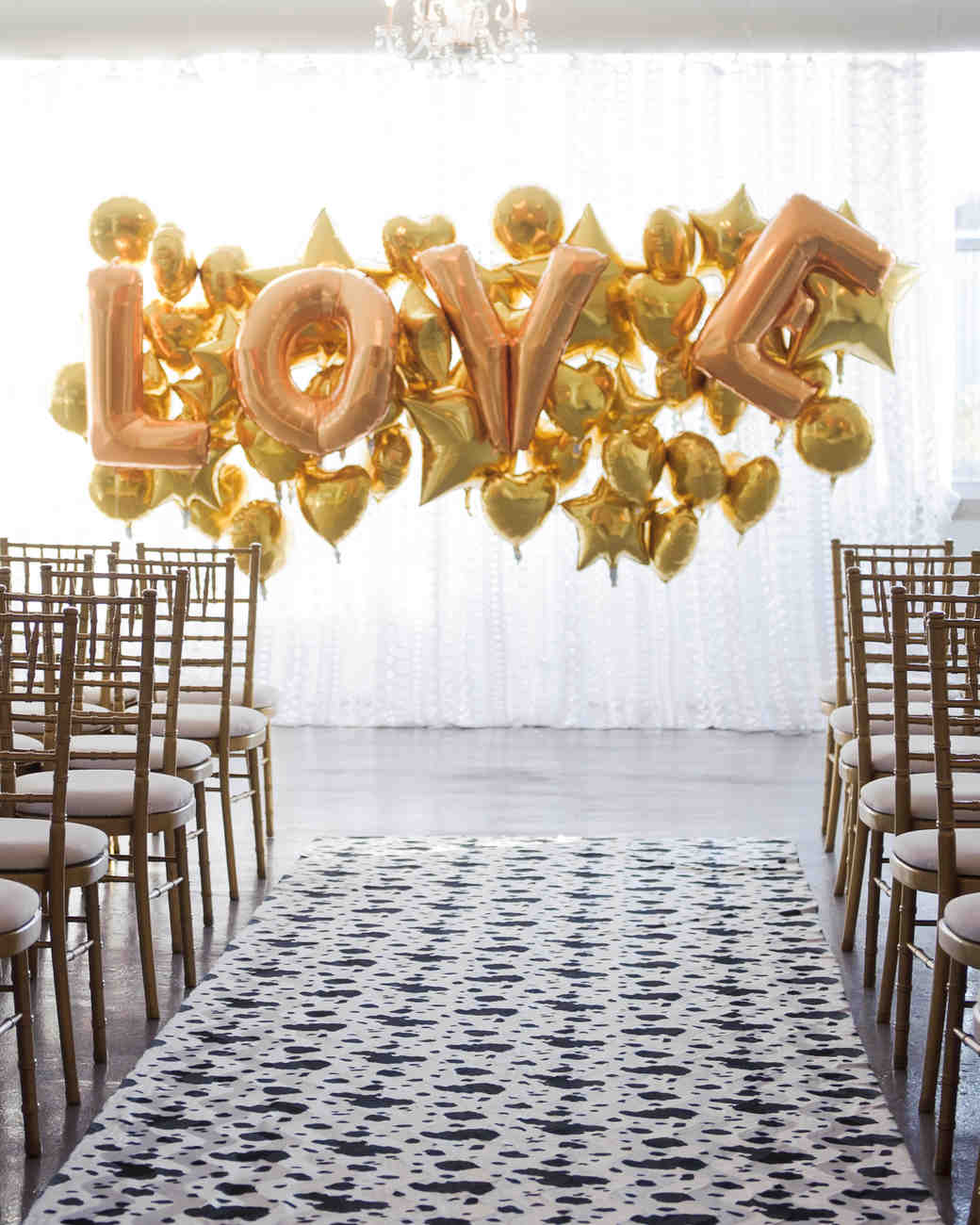 gold balloon backdrop love hearts stars