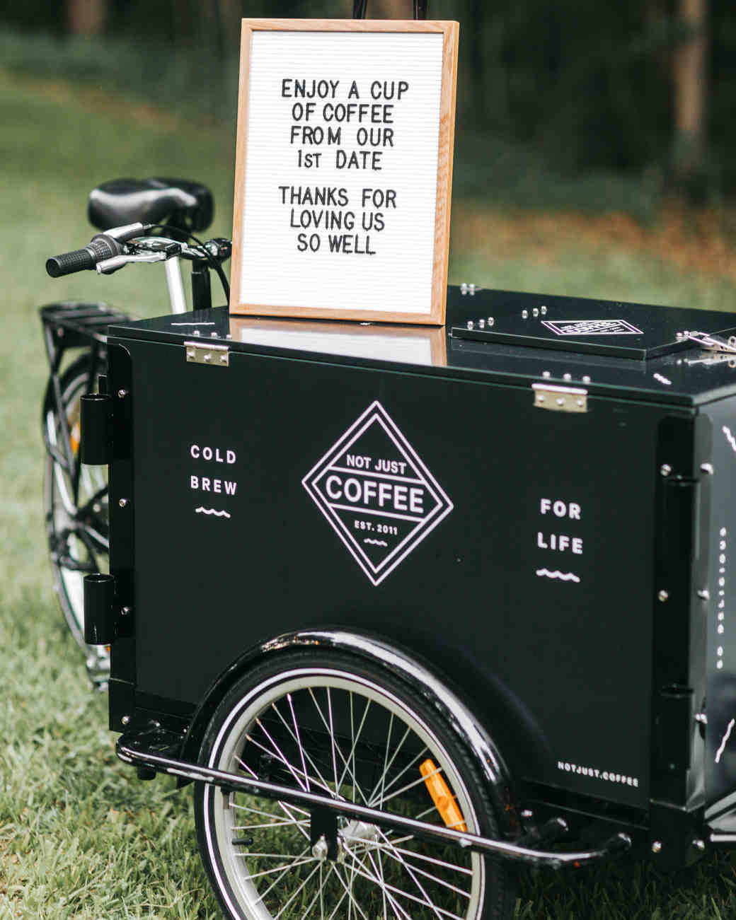 coffee wedding ideas black station with sign