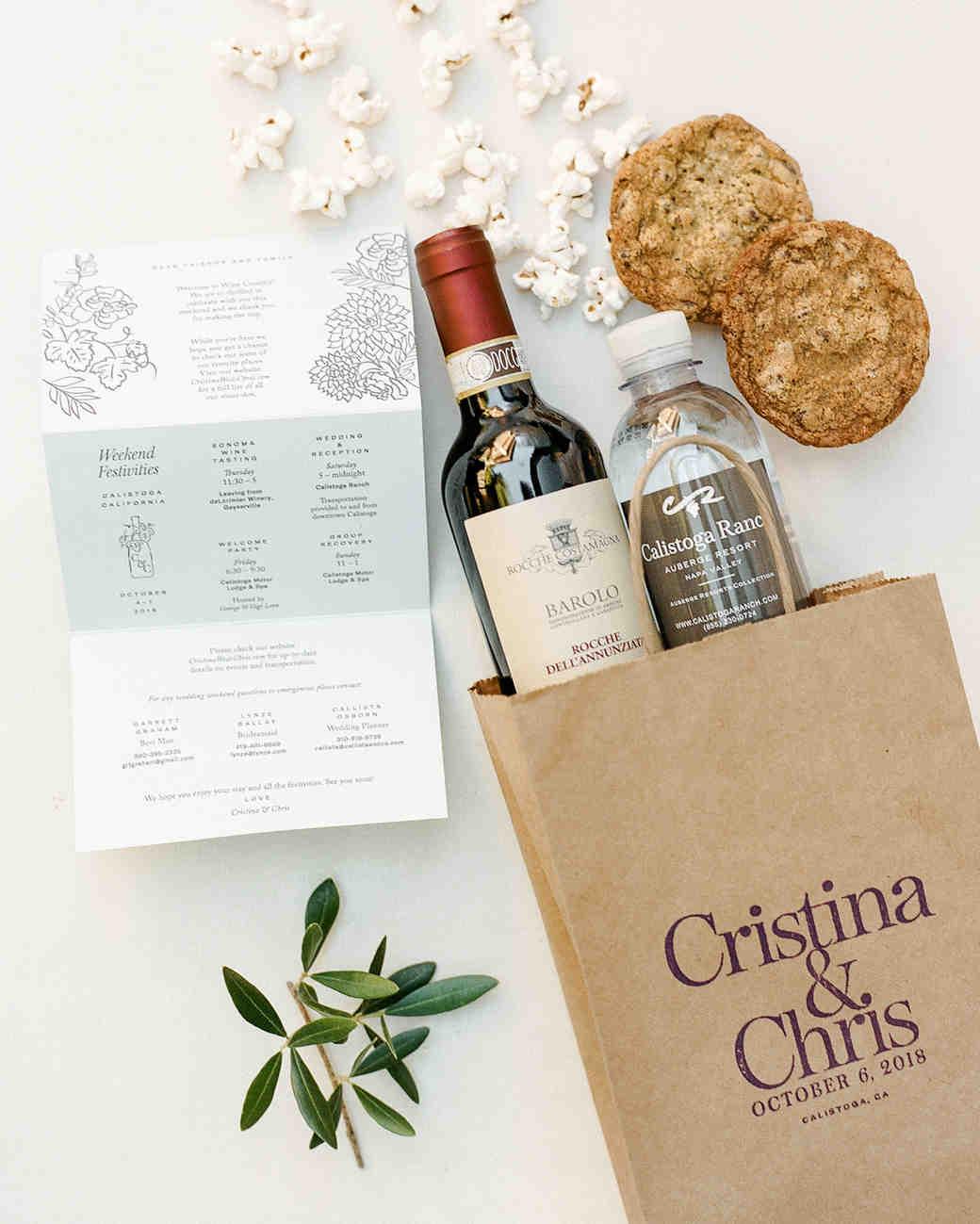 cristina chris wedding welcome bag