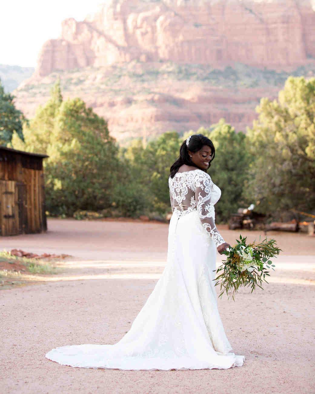 destination wedding dress long sleeves canyon